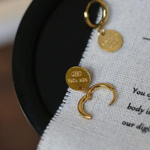 Load image into Gallery viewer, English Letter Disc Brand Earring Hoop 18k Gold Coin Exquisite Jewelry - Glitzy Swan