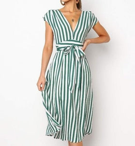 Short Sleeve Striped Empire Waist T-Shirt Drawstring High Waist Summer Dress - Glitzy Swan