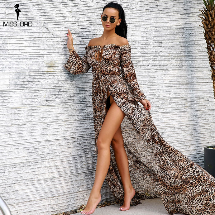Lovely Leopard Off Shoulder Long Flared Sleeve Split Leg Maxi Party Dress