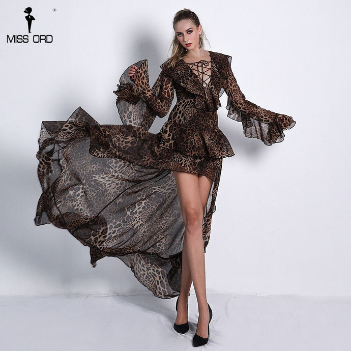 Ruffled Leopard Deep V With Cross Strings Long Sleeve Print Dresses  Maxi Dress