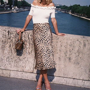 Casual Leopard Printed A Line High Waist Slim Leopard Evening Party Skirt