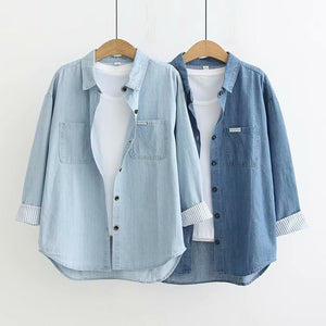Leisure Denim Blue Button Long Sleeve Boyfriend Style Shirt Tops
