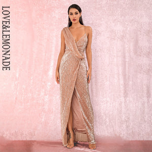 LOVE&LEMONADE Enticing Rose Gold Deep V-Neck Whit Split Sequins Party Maxi Dress LM81849