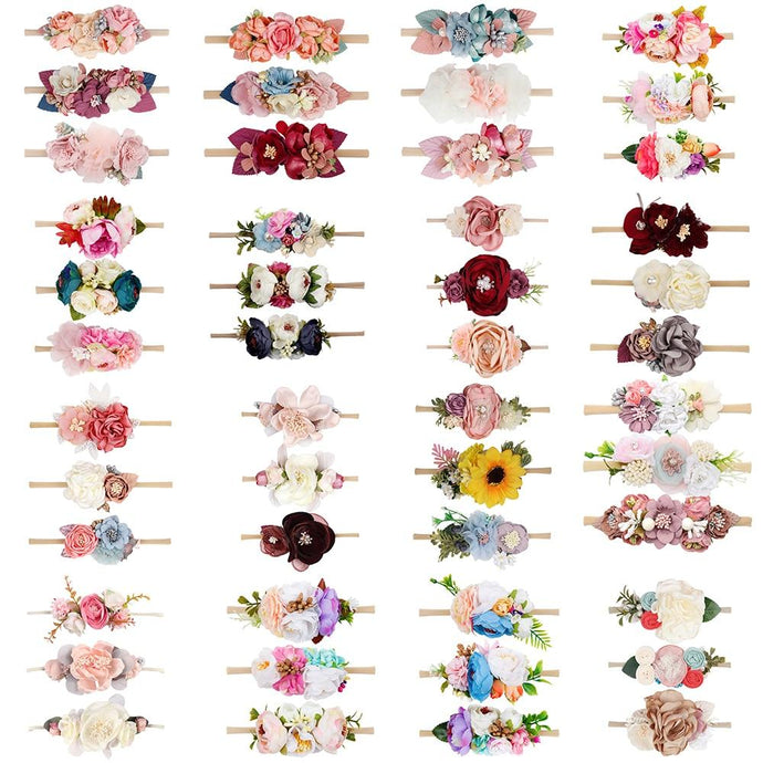 3Pcs/Set Baby Flower Headband With High Elastic Nylon Band Artificial Floral Hair Band Wholesale Bebe Headwear Hair Accessories - Glitzy Swan