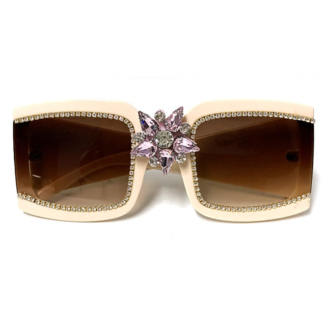 Vintage diamond sunglasses ladies luxury brand mirror rhinestone sunglasses 2020 fashion woman one piece square glasses glasses - Haute Swan LLC