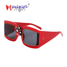 Load image into Gallery viewer, Rectangle Big Frame Rhinestone Cluster Sunglasses - Monique Orenda
