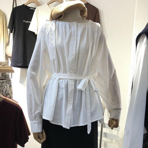 White Cotton Round Neck Long Sleeve Cute Blouses