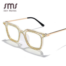 Load image into Gallery viewer, Fashion Square Diamond Sunglasses Women Men Rhinestome Vintage Sunglasses Men Retro Glasses Frames Can Myopia Trend Eyewear - Haute Swan LLC