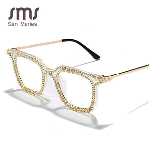 Fashion Square Diamond Sunglasses Women Men Rhinestome Vintage Sunglasses Men Retro Glasses Frames Can Myopia Trend Eyewear - Haute Swan LLC