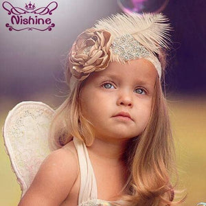 Nishine Girls Rhinestone Flower Headband Elastic Lace Hair Bands Feather Fabric Flower Party Kids Headwear Photography Props - Glitzy Swan