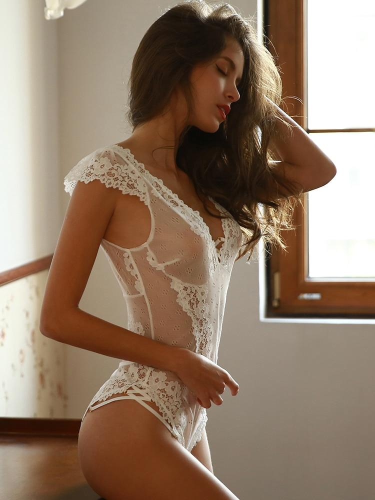 Stunning Lace Mesh Ruffle Lace Hips Cross Straps Backless Bodysuit - Glitzy Swan