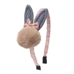 1 PC Big Rabbit Ear Hairbands Pompom Ball Sweet Plastic Headbands Girls Christmas Gift Winter Boutique Headwear - Glitzy Swan