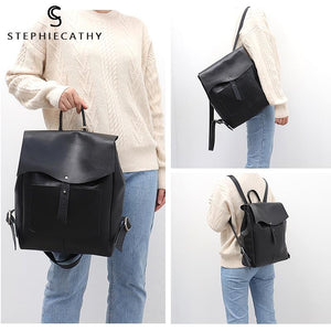 Italian Leather Vintage Style Flap Buckle Backpack Bag - Stephie Cathy - Glitzy Swan