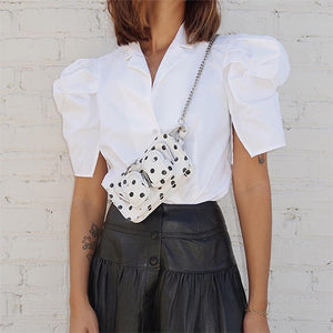 White Puff Short Sleeve Womens Blouse