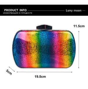 Luxury Acrylic Rainbow Box Evening Bag ZD1564 Rainbow  - Luxy Moon - Glitzy Swan