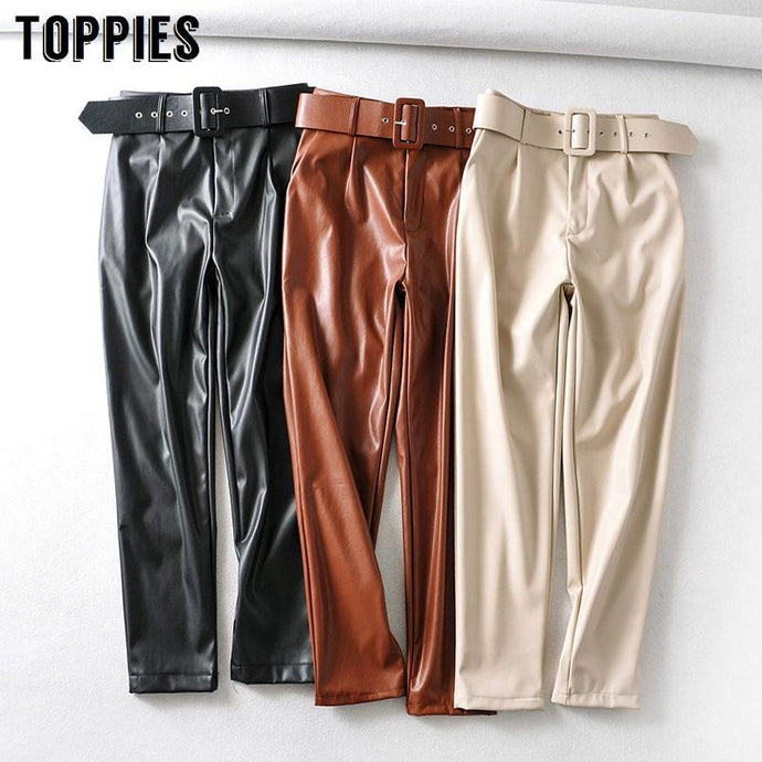 Belted Woman's Faux Leather Pants Solid Color High Waist Pants - Glitzy Swan