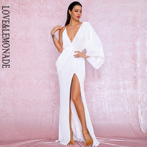 LOVE&LEMONADE Sexy White V-Neck Single Sleeve Sequins Split Party Maxi Dress LM81848