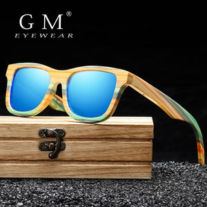 GM Fashion Skateboard Wood Bamboo Sunglasses Polarized for Women Mens New Brand Designer Wooden Sun Glasses UV400 - Glitzy Swan