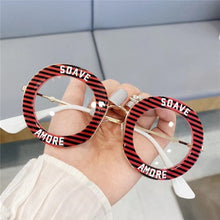 Load image into Gallery viewer, New Round Women Galsses Clear Lens Student Fashion Metal Frame Stripe Personality Letter Optical Glasses Casual Oversized Glass