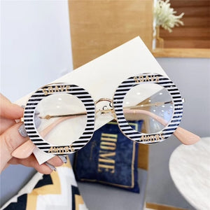 New Round Women Galsses Clear Lens Student Fashion Metal Frame Stripe Personality Letter Optical Glasses Casual Oversized Glass