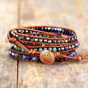 Natural Stones Lapis Lazuli Leather Strap Wrap Bracelets with Woven Beads - Glitzy Swan