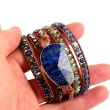 Load image into Gallery viewer, Natural Stones Lapis Lazuli Leather Strap Wrap Bracelets with Woven Beads - Glitzy Swan
