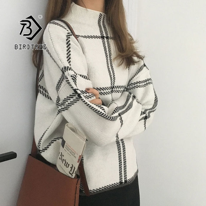 Winter Pullovers Sweater Fashion Plaid Turtleneck Loose Knit Full Sleeve Casual Tops
