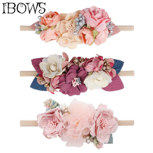 Baby Headband Fake Flower Nylon Hair Bands - Glitzy Swan