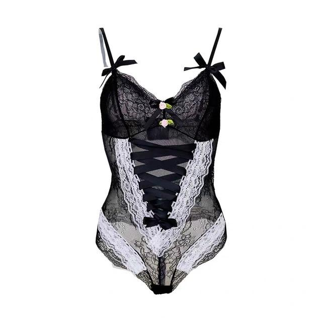 Lovely Lace Spaghetti Strap and Bows Cinch Up Retro Body Suits - Glitzy Swan