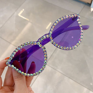 Sexy Cat Eye Sunglasses Women Rimless Vintage Rhinestone Sun Glasses Female Lady Candy Color 2019 Eyewear Triangle Shades UV400