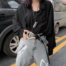 Load image into Gallery viewer, Fashion Faux Leather Belts For Women Big Alloy Buckle Thin Double Layer Shirt Knotted Stylish Punk Waist Belt Long Strap 429 - Glitzy Swan