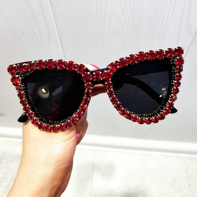 Black Crystal Sunglasses Women Cat eye Vintage sunglasses Luxury Sun glasses for Woman Oversize Fashion Shade Gafas UV400