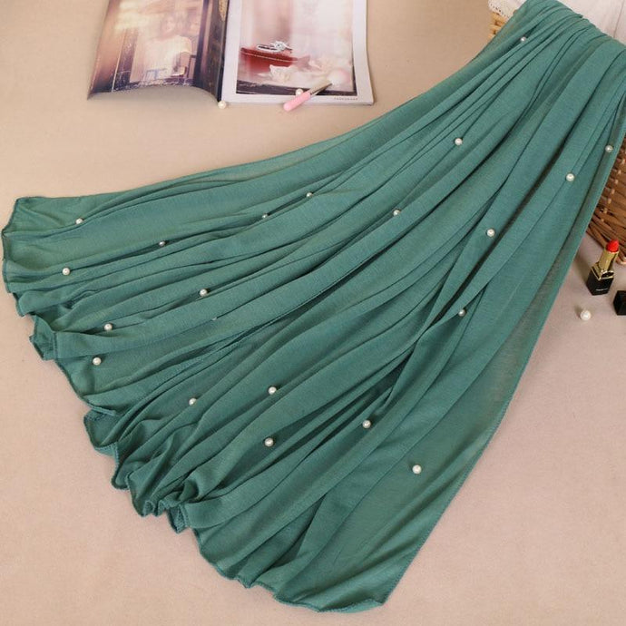 Cotton Viscose Maxi Plain Pearl Beads Jersey Scarf - Many Colors - Glitzy Swan