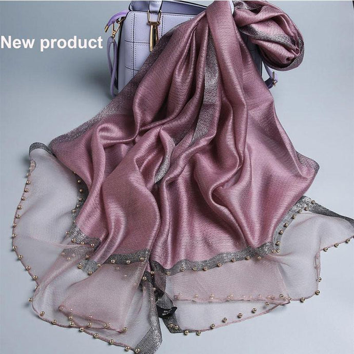 Luxury brand Pashmina Silk Wool Blend Scarves - Glitzy Swan