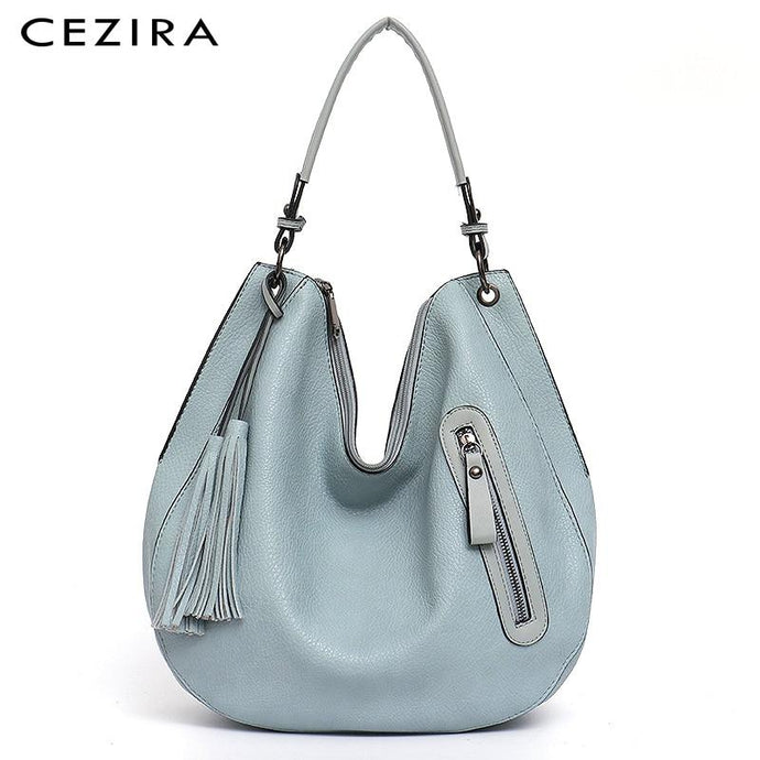 Luxury Soft Vegan Large Leather Hobo Shoulder Crossbody Tote Hand Bag  - CEZIRA - Glitzy Swan
