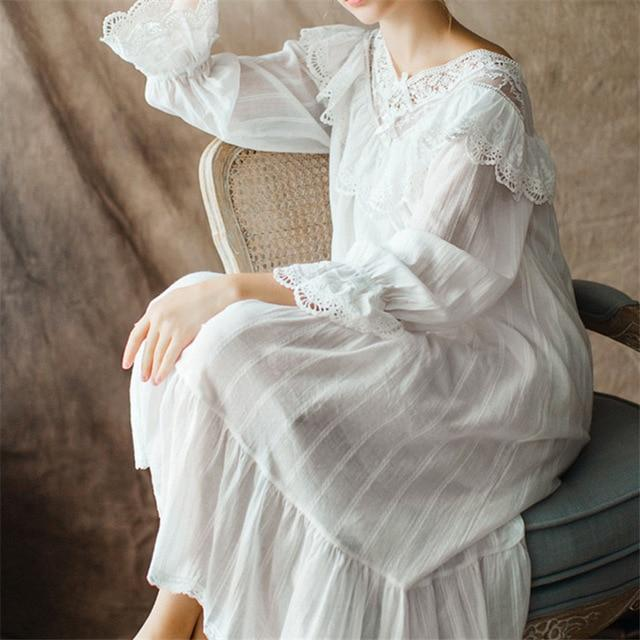 Women's Vintage Gothic Victorian Night Dress White Cotton Flare Sleeve V Neck Lace Embellished Ruffle Hem Nightgown - Glitzy Swan
