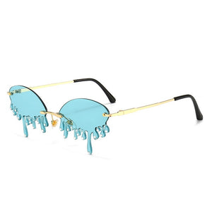 Luxury Diamond Sunglasses Women Vintage Unique Tears Shape Punk Sunglasses Rimless Crystal Eyeglasses Female Gafas Shades UV400 - Haute Swan LLC