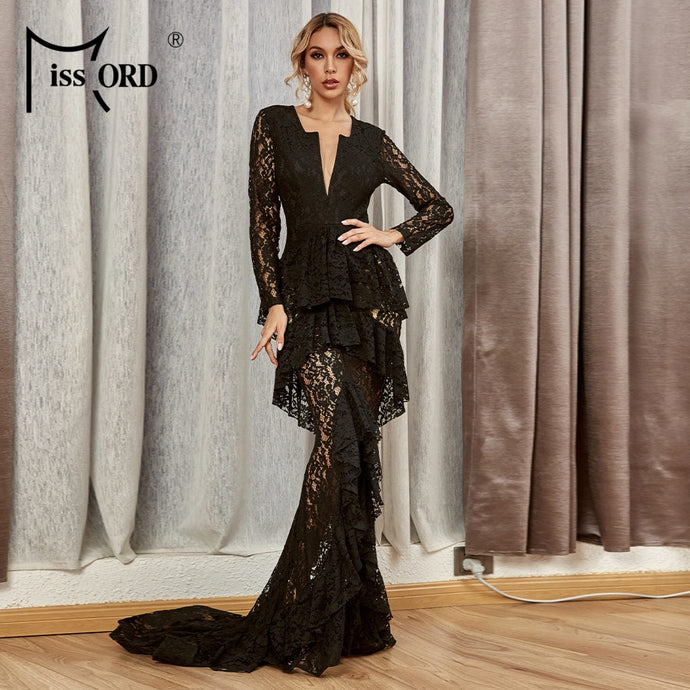 Gala Dream V Neck Ruffles Long Sleeve Maxi Dresses Lace Elegant Dresses