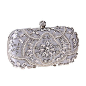 Luxury Exquisite Crystal Party Clutch Hand Bags ZD1336 Silver - Luxy Moon - Glitzy Swan
