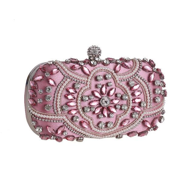 Luxury Exquisite Crystal Party Clutch Hand Bags ZD1336 Pink- Luxy Moon - Glitzy Swan