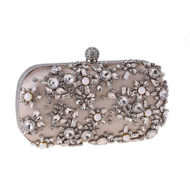 Luxury Exquisite Crystal Party Clutch Hand Bags ZD1279 Apricot - Luxy Moon - Glitzy Swan