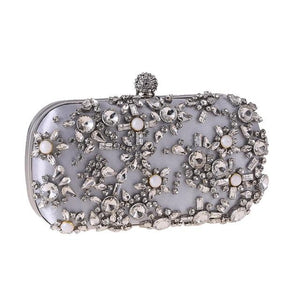 Luxury Exquisite Crystal Party Clutch Hand Bags ZD1279 Silver - Luxy Moon - Glitzy Swan