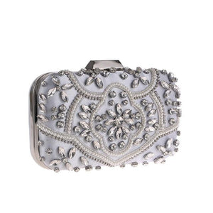 Luxury Exquisite Crystal Party Clutch Hand Bags ZD1391 Silver - Luxy Moon - Glitzy Swan