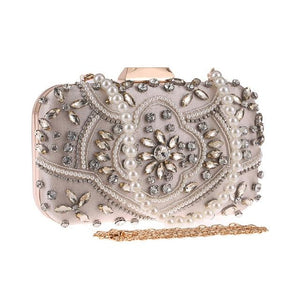 Luxury Exquisite Crystal Party Clutch Hand Bags ZD1391 Apricot - Luxy Moon - Glitzy Swan