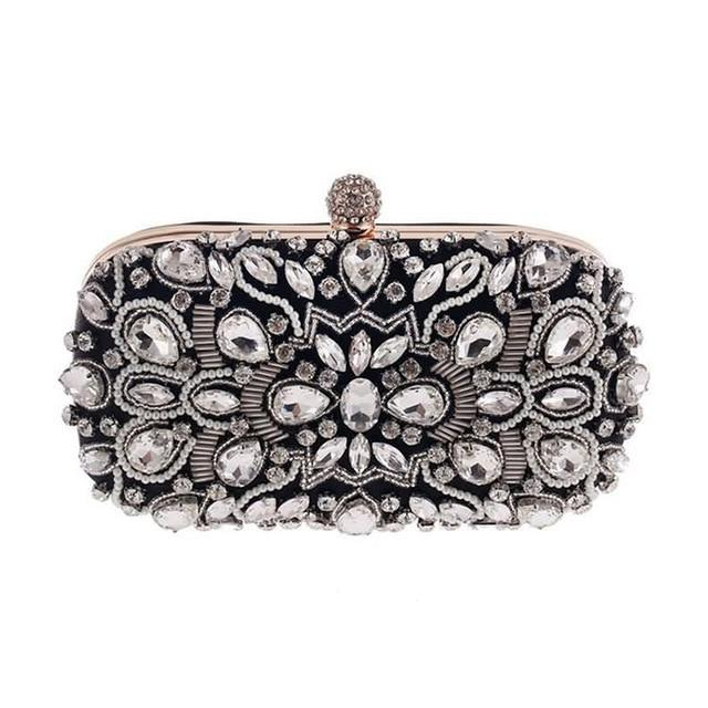 Luxury Exquisite Crystal Party Clutch Hand Bags ZD1279 Black - Luxy Moon - Glitzy Swan