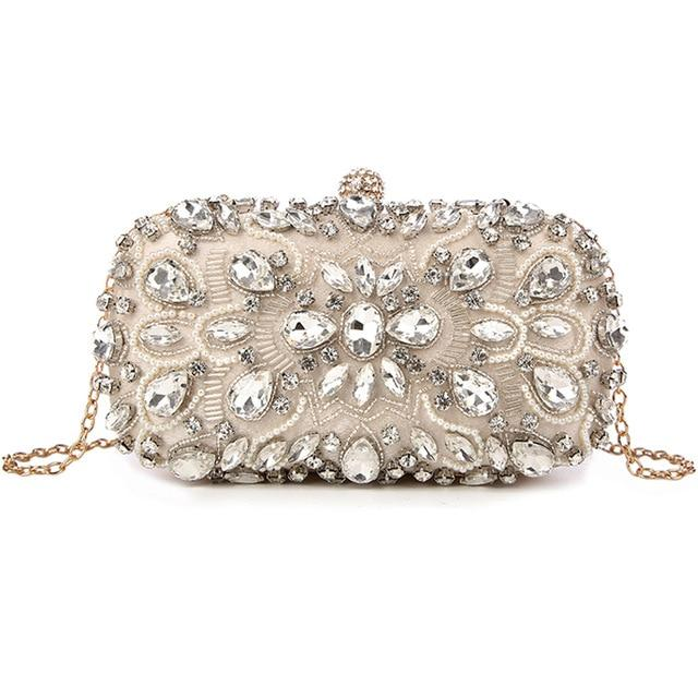 Luxury Exquisite Crystal Party Clutch Hand Bags ZD0002 Apricot - Luxy Moon - Glitzy Swan