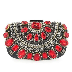 Luxury Exquisite Crystal Party Clutch Hand Bags ZD1370 Red- Luxy Moon - Glitzy Swan