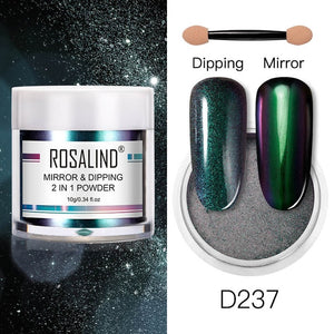 ROSALIND Nail glitter dipping powder Mirror Effect 2 in 1 Holographic For Manicure pigment dip powder set Nail Art Decorations - Haute Swan LLC