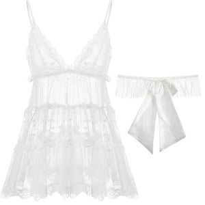 Cute Baby Doll Gauze Lace Night Dress Lingerie Set With Panties in White and Black - Glitzy Swan