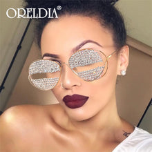 Load image into Gallery viewer, Oversize Rhinestone  Sunglasses Women Round Sexy Luxury Sun glasses Women Brand Designer Vintage Eyeglasses oculos de sol